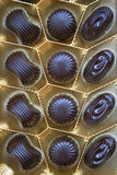 Delicious dark chocolate sweets as background Royalty Free Stock Image