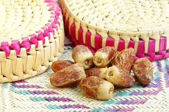 Delicious  dates kept on the mat of date palm leaves Stock Image