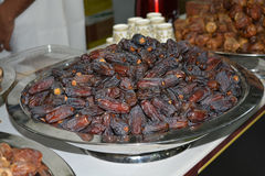 Delicious Dates on sale in market.  Stock Photo