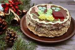 Delicious, decorated with a cream cake. Traditional Ukrainian Kiev Cake stock photography