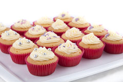 Delicious decorated cupcakes. Delicious homemade decorated cupcakes, with vanilla topping, on a white plate Stock Photography