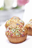 Delicious decorated muffins Royalty Free Stock Photo