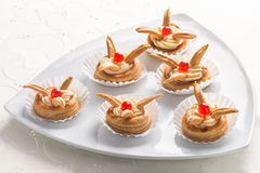 Delicious decorative gourmet pastries Royalty Free Stock Images