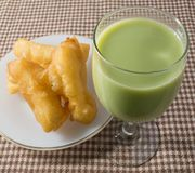 Delicious Deep Fried Doughstick with Soybean Milk Stock Photo