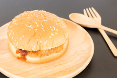 Delicious deep fried pork burger Stock Images