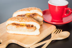 Delicious deep fried pork burger Royalty Free Stock Photography