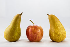 Delicious, delicious ripe apples and pears on a white background Stock Photography