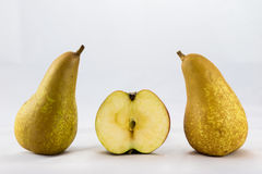Delicious, delicious ripe apples and pears on a white background Stock Photos