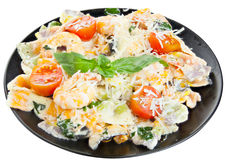 Delicious delicious spaghetti with shrimps and basil on  plate Stock Image