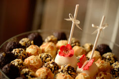 Delicious dessert balls on a plate Royalty Free Stock Photos