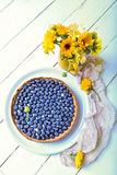 Delicious dessert blueberry tart with fresh berries, sweet tasty cheesecake, berry, bog bilberry, whortleberry pie. French cuisine Stock Photography