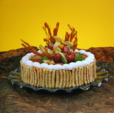 Delicious dessert cake. With fruits, cream and chocolate. Good decoration royalty free stock photography