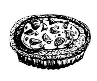 Delicious dessert cake sketch ink hand drawn  illustration Stock Photography