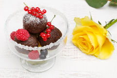 A delicious dessert with chocolate cake balls Royalty Free Stock Photos
