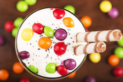 Delicious dessert with colorful candies Royalty Free Stock Photography