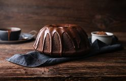 Free Delicious Dessert, Dark Chocolate Bundt Cake Topped With Ganache Glaze Royalty Free Stock Photography - 167735377