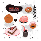 Delicious dessert design elements set Donut Cake Coffee cup Lollipop Royalty Free Stock Images
