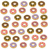 Delicious dessert donuts chocolate and berry frosting. set collection vector illustration Stock Photography