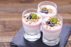 Delicious dessert, flakes flooded in two flavors yogurt with blu Royalty Free Stock Photography