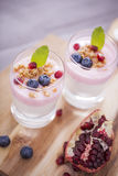 Delicious dessert, flakes flooded in two flavors yogurt with blu Stock Photo