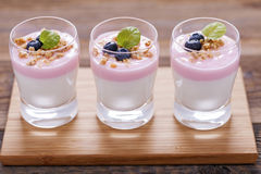 Delicious dessert, flakes flooded in two flavors yogurt with blu Royalty Free Stock Images
