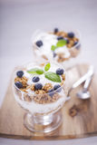 Delicious dessert, flakes flooded in two flavors yogurt with blu Stock Image