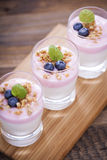 Delicious dessert, flakes flooded in two flavors yogurt with blu Royalty Free Stock Image