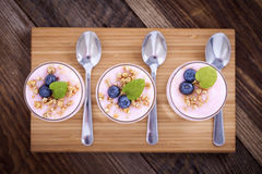 Delicious dessert, flakes flooded in two flavors yogurt with blu Royalty Free Stock Photo