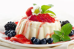Delicious dessert with fresh berries and mint Royalty Free Stock Photography