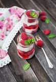 Delicious dessert  with fresh raspberry and mint Royalty Free Stock Photo