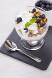 Delicious dessert with fruits and flakes Royalty Free Stock Photo