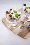 Delicious dessert with fruits and flakes Royalty Free Stock Photos