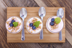 Delicious dessert with fruits and flakes Stock Image