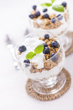 Delicious dessert with fruits and flakes Stock Images