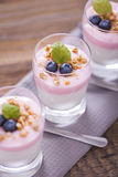 Delicious dessert with fruits and flakes Royalty Free Stock Images
