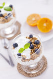 Delicious dessert with fruits and flakes Stock Photos
