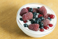 Delicious dessert made of yoghurt and ripe berries. (raspberry, red currant and blueberry stock images