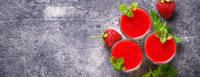 Delicious dessert panna cotta with strawberry Royalty Free Stock Photography