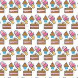 Delicious dessert pastry unhealthy food background. Vector illustration Stock Images