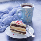 Delicious dessert. A piece of cake and cup of tea Stock Photos