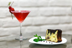 Delicious dessert on the plate with mint leaf Royalty Free Stock Images
