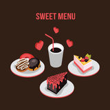 Delicious dessert poster Donut Cake Coffee background Food  isometric style Stock Photography