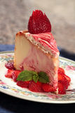 Delicious Dessert of Strawberry Cheesecake Stock Photo