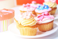 Delicious dessert table for big party Stock Images