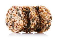 Delicious dessert of various seeds, nuts and dry fruits. Isolated. On white background stock photography