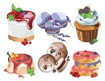 Delicious Desserts set Stock Image