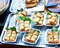 Delicious dim sims,  toasts  spring rolls ready to serve. Royalty Free Stock Images