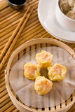Delicious Dim-Sum. Chinese steamed dimsum in bamboo container stock image