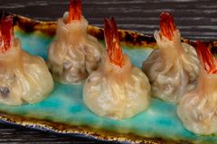 Delicious dim sum with shrimps. And sauce royalty free stock images