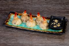 Delicious dim sum with shrimps. And sauce royalty free stock photo
